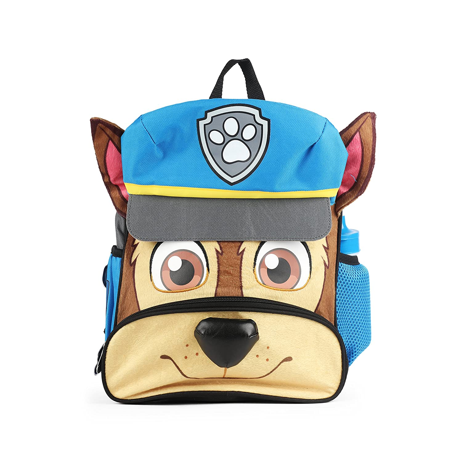 Nickelodeon Paw Patrol Chase Face 12 Full Plush Soft Feel Blue Backpack with Water Bottle PPPBPKAD
