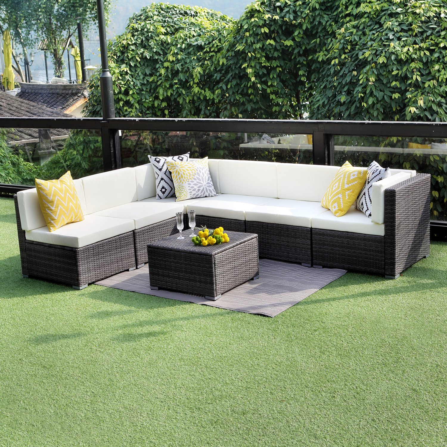 Outdoor Conversation Set Patio Furniture, 7PCS Outdoor Gray Wicker Sofa Set Sectional Furniture Set by Wisteria Lane