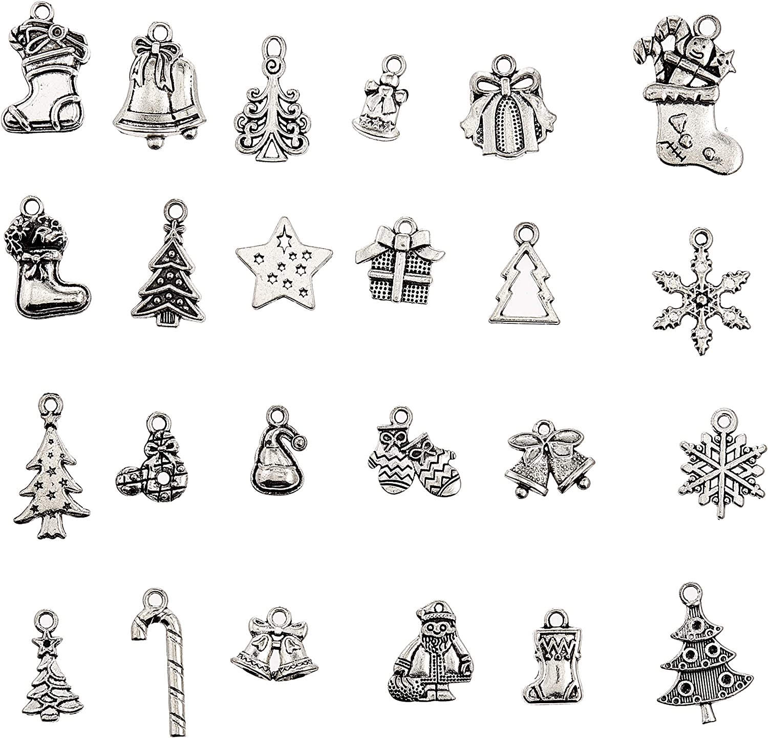 10 Christmas Charm//Pendant Tibetan Antique Silver Stocking for Jewelry Making