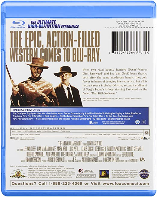 For A Few Dollars More Edizione: Stati Uniti USA Blu-ray: Amazon.es: Gian Maria Volontè, Clint Eastwood, Lee Van Cleef, Gian Maria Volont, Josef Egger, ...