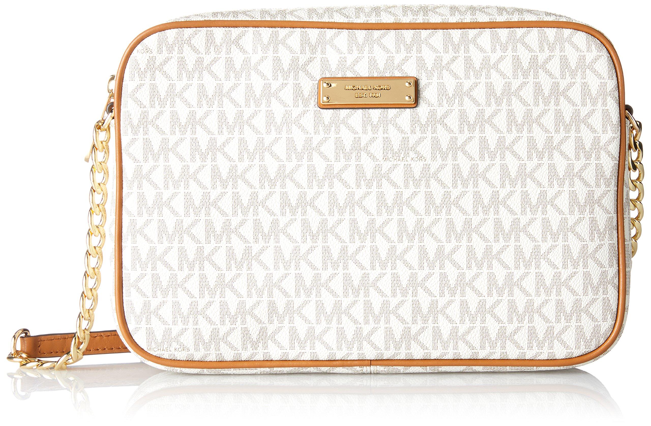 ae58994c2f5f Michael Kors Women Jet Set Large Crossbody Vanilla Handbag Leather Beige  Gold