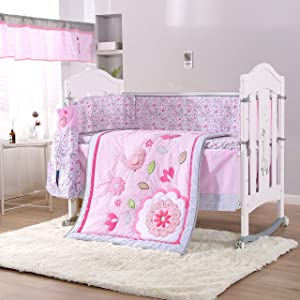Wowelife Pink Crib Bedding Sets for Girls Upgraded Pink Flower Birds 9 Piece Nursery Bedding for Baby with Bumpers and Diaper Stacker(Pink-9 Piece)
