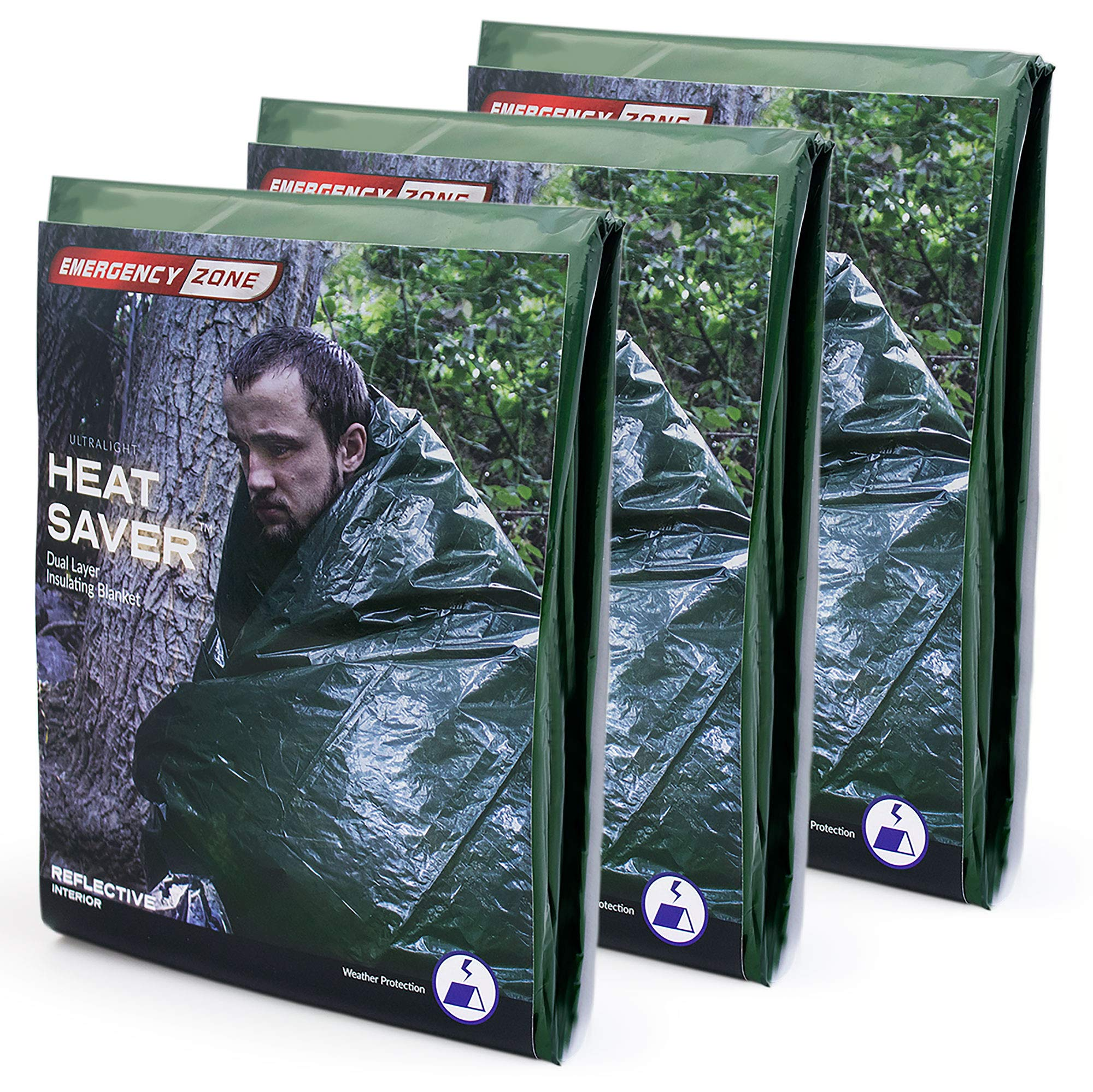 Emergency Zone Ultralight HeatSaver Dual Layer Insulating Emergency Blanket. 3 Pack