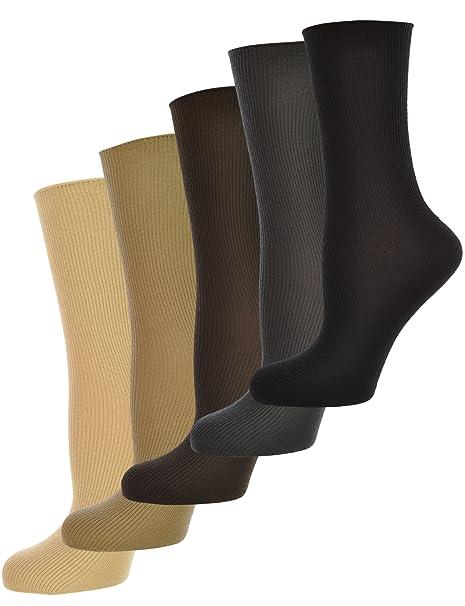 Señoras calcetines calcetines de costura, libre, ribete de bucle, apto para diabéticos,