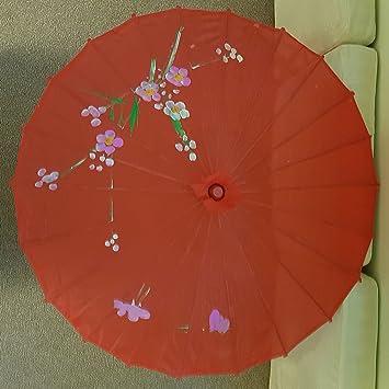 Disfraz de chino/japonés Floral Parasol Paraguas, rosso