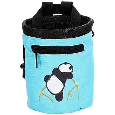 AMC(TM Rock Climbing Panda Bear Design Chalk Bag w/Drawstring Closure and Belt