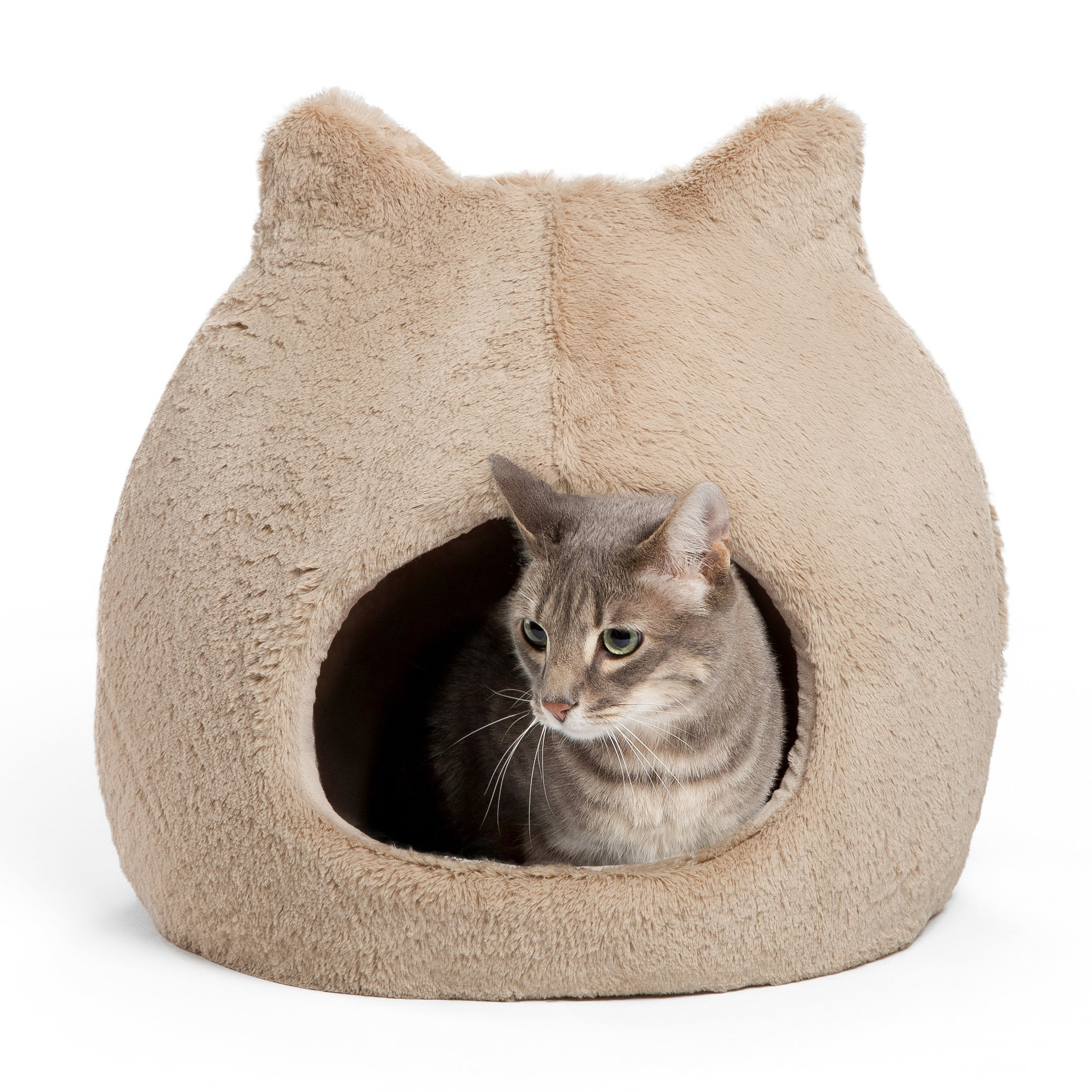 Best Friends by Sheri Meow Hut in Fur - 360 Coverage, Machine Washable Cat/Dog Bed, 19''x19''x20''