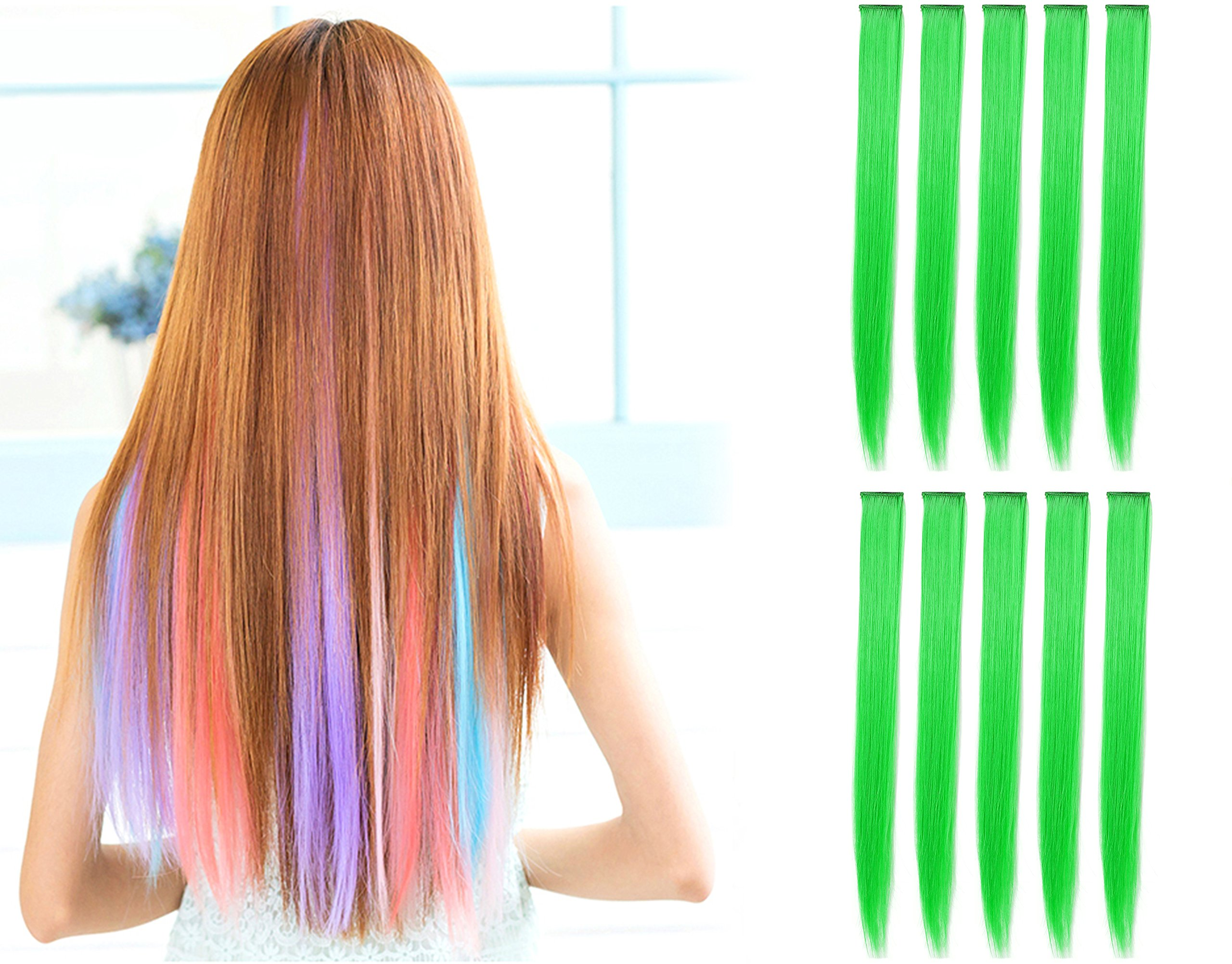 OneDor 23 Inch Straight Colored Party Highlight Clip on in Hair Extensions 12 Multiple Colors (10 Pcs Green)