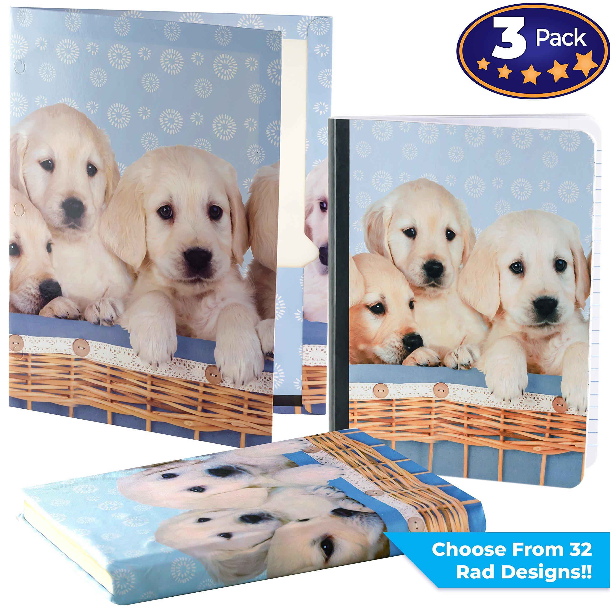 Matching Book Cover, Folder and Composition Notebook Pack. Our Set Of Stretchable Textbook Protector with a Durable Portfolio and Note Pad Is An Essential Supply to Keep Students Organized In School
