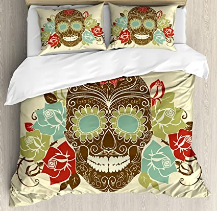 Ambesonne Sugar Skull Decor Duvet Cover Set Queen Size, Skull And Roses  Colorful Vintage Composition