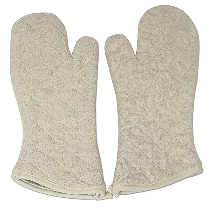 Nouvelle Legende Cotton Quilted Terry Oven Mitts Long Lasting Heat Resistance Protection 17 Inches Set of 2