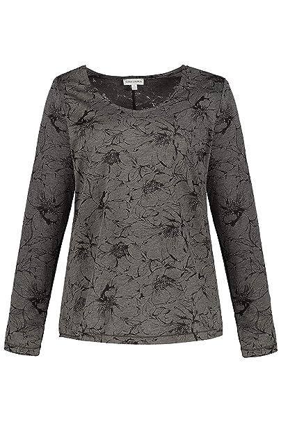 GINA LAURA Damen Shirt, Blütenmuster, Ausbrennerjersey