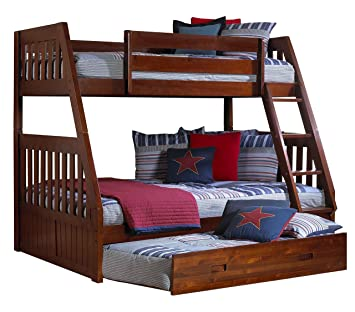 Discovery World Furniture Twin Over Full Bunk Bed With Trundle Merlot