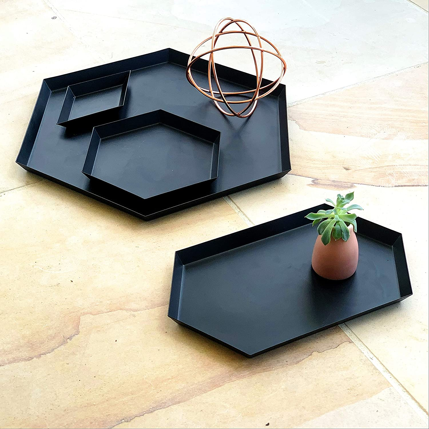 Serving Trays Coffee Table Bathroom Decor - Set of 4 Steel Geometric Matte Black Trays for Ottomans, Office Desk, Kitchen, Bedroom, Study | Displayed in Beautiful Gift Box
