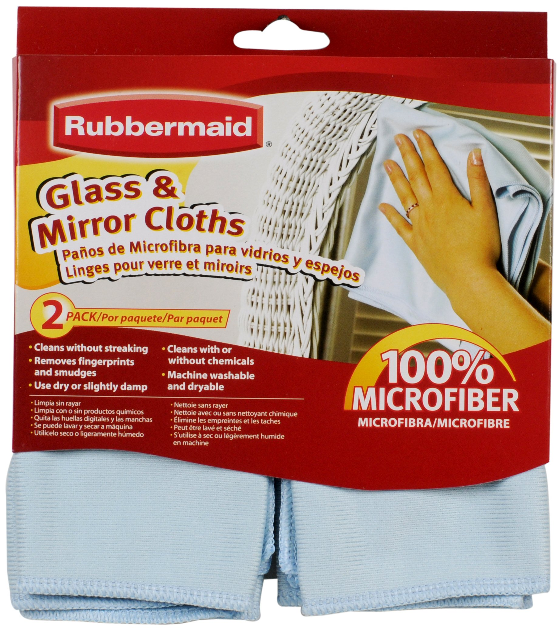 Rubbermaid 2-Pack Microfiber Glass Cleaning Cloth, Blue (FG6M0206)