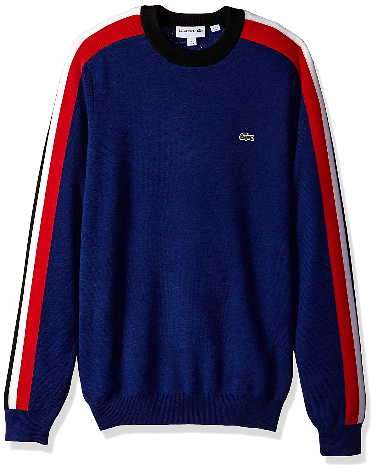 Lacoste Men's Mouline Jersey and Jacquard Wool Blend Sweater With Stripes