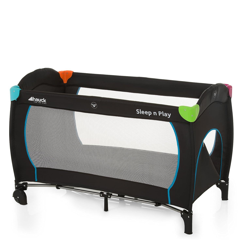 Hauck Sleep N Play Go Plus Lettino da Viaggio 4 Pezzi 120 x 60 cm per Neonati e Bambini Fino a 15 Kg con Apertura, Ruote, Materasso e Borsa di Trasporto Pieghevole Multi Black (Nero Multicolore) 600702