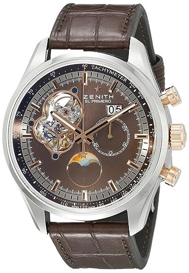 Zenith hombre 5121614047.75 C el primero Pantalla analógica automático suizo marrón reloj: Zenith: Amazon.es: Relojes