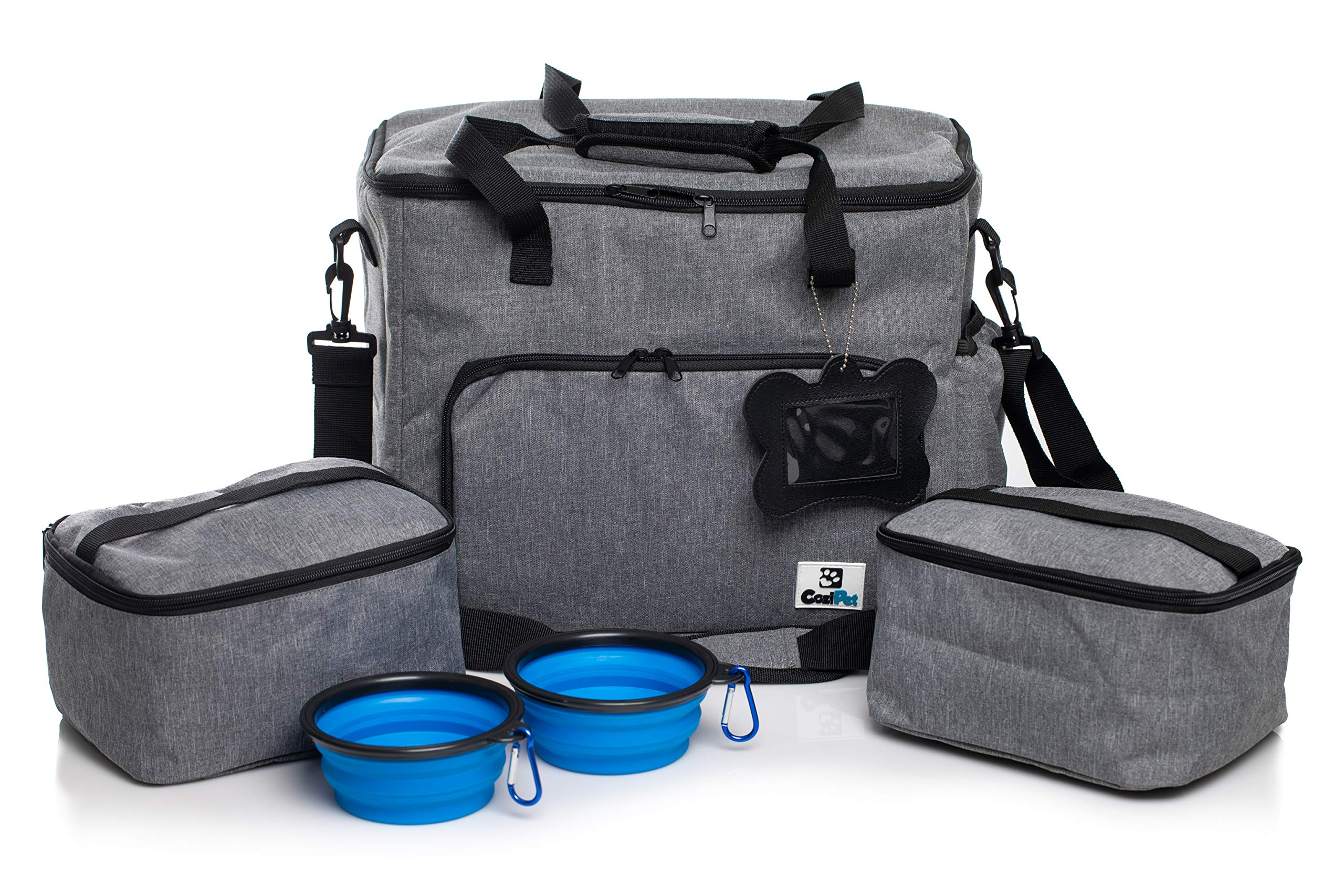 CoziPet Pet Travel Bag Tote for Dog or Cat with 2 Food Carriers and 2 Collapsible Bowls (Gray) by CoziPet