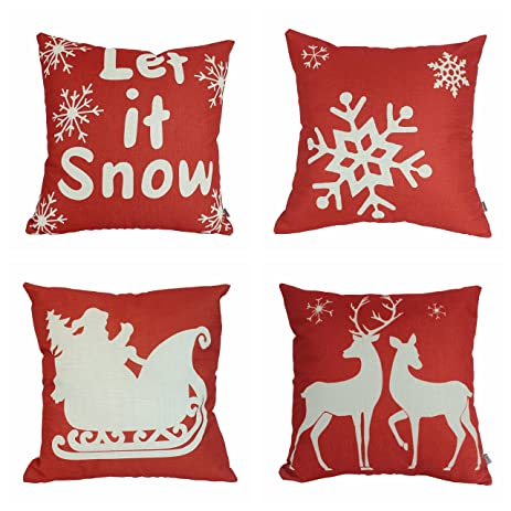 jinbeile christmas pillow covers 4pack gold stamping 18x18 inch decorative merry christmas pillowcase cushion