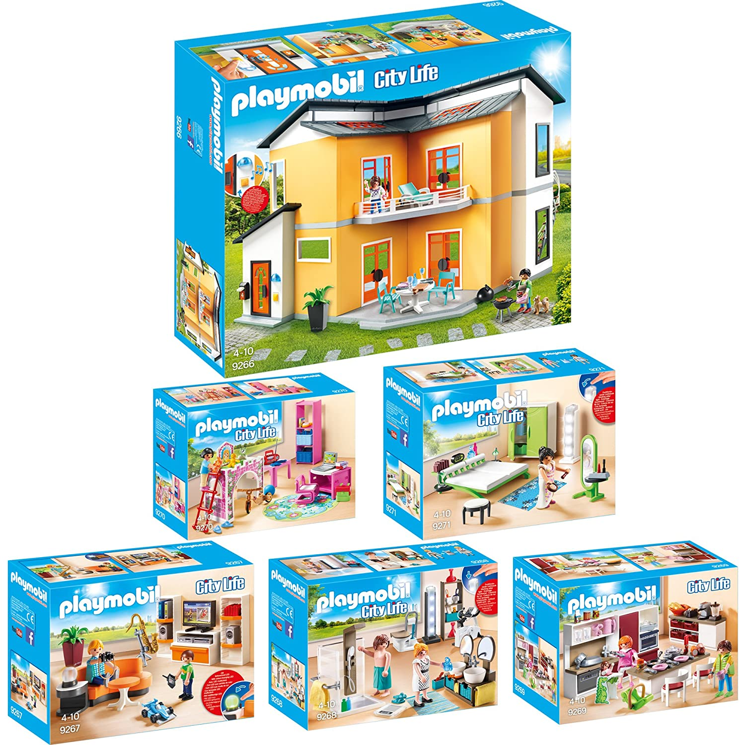 playmobil modernes wohnzimmer : Playmobil City Life 6er Set 9266 9267 9268 9269 9270 9271