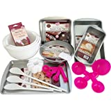 Baking Set Bundle with Mixing Bowls, Baking Tins and Baking Accessories (11 items) (white)