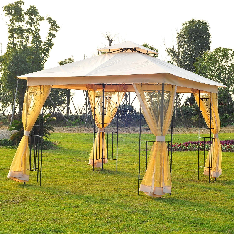 Outsunny - Pabellón de jardín de Lujo, Gazebo, Cortina de jardín, Pagoda 298 x 298 cm: Amazon.es: Hogar