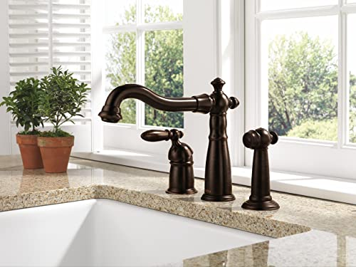 Delta Faucet Victorian Single-Handle Kitchen Sink Faucet with Side Sprayer in Matching Finish, Venetian Bronze 155-RB-DST