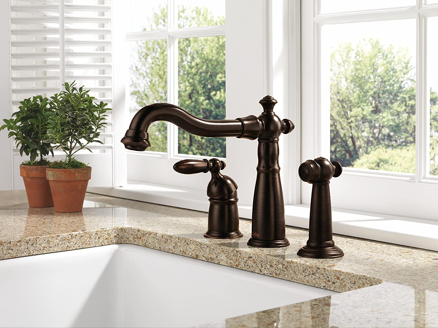 Delta 155-RB-DST Victorian Single-Handle Widespread Kitchen Faucet ...