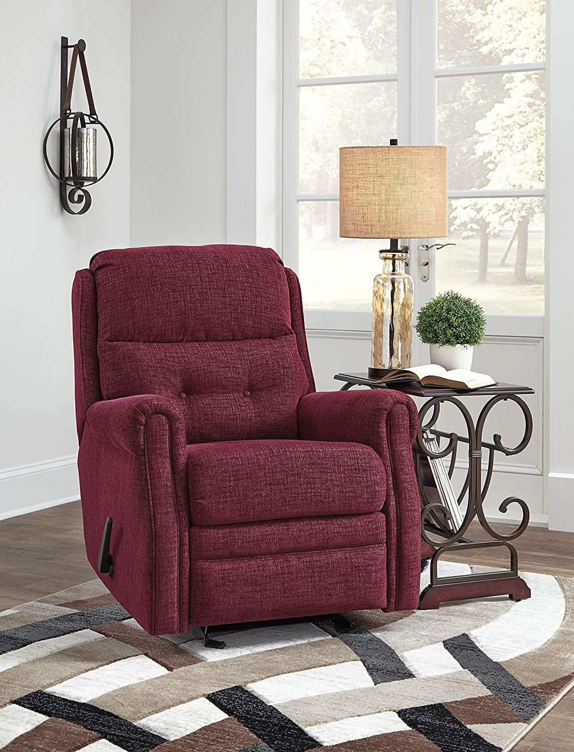 Signature Design by Ashley - Penzberg Upholstered Glider Recliner - One Pull Reclining - Burgundy