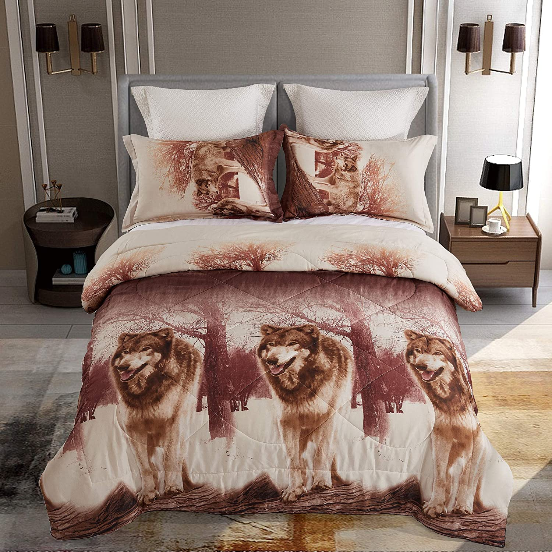ENJOHOS 3D Wolf Bedding Twin Wolf Comforter Set for Kids Cool Bedroom Decor Bed Set 3PCS 1 Comforter and 2 Pillow Shams