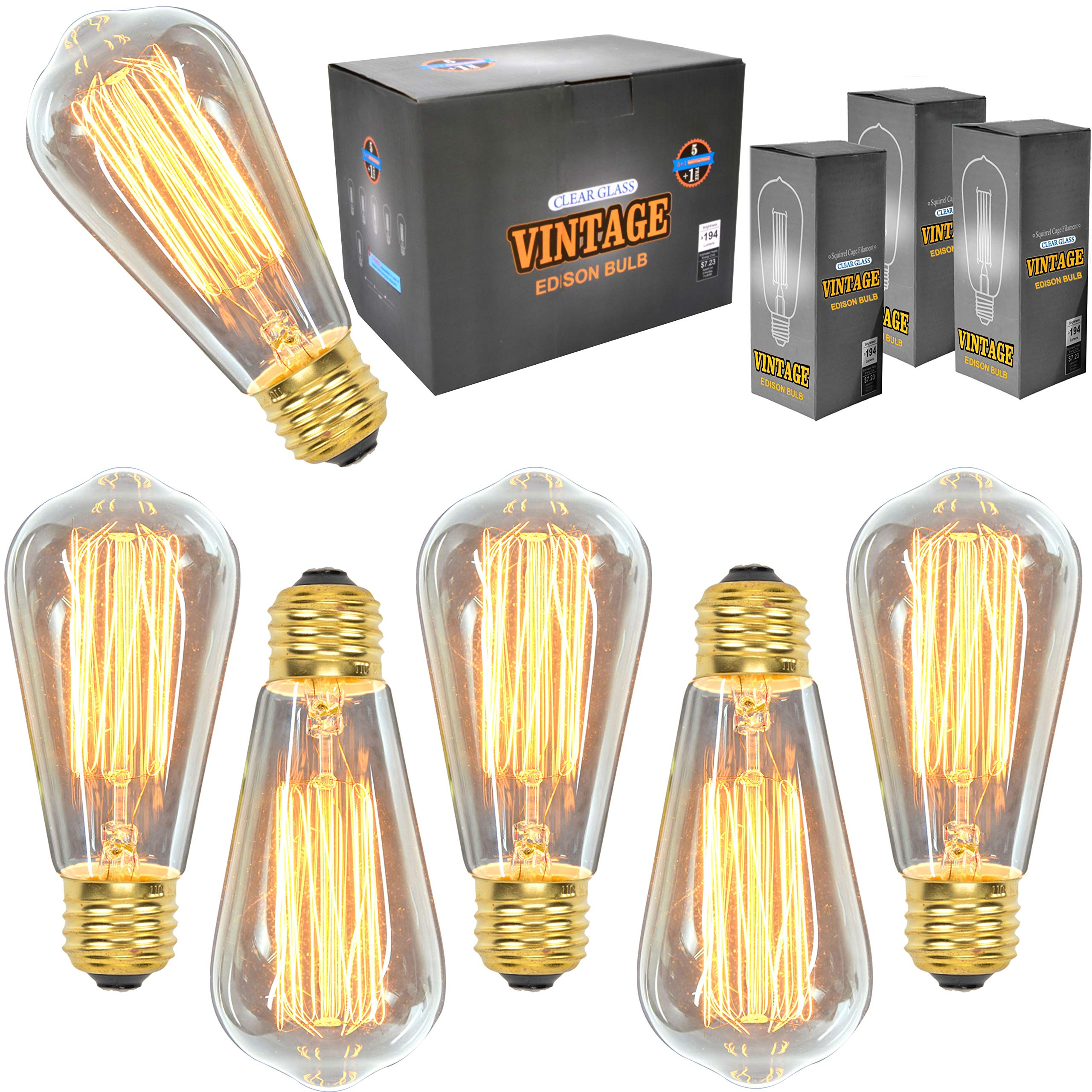 Vintage Edison Light Bulbs (6 Pack), 60W, ST64, E26, Squirrel Cage, Dimmable,Clear Glass, Industrial Vintage Incandescent Bulbs by Youngever (Image #1)