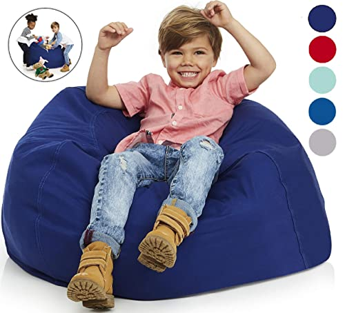 Delmach Bean Bag Chair Cover Stuffed Animal Storage 38 Width Extra Large 100 Cotton Canvas Double Stitched Durable Zipper Fill with Anything Soft Beans not Included