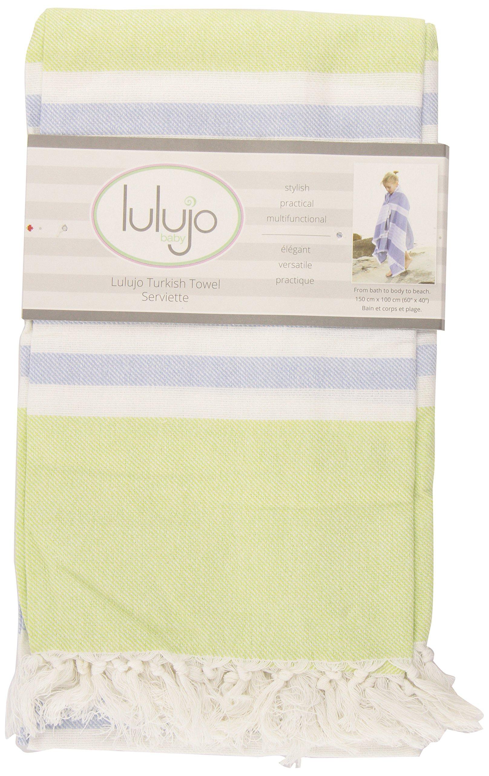 Lulujo Baby Turkish Towel, Lime Green/Blue