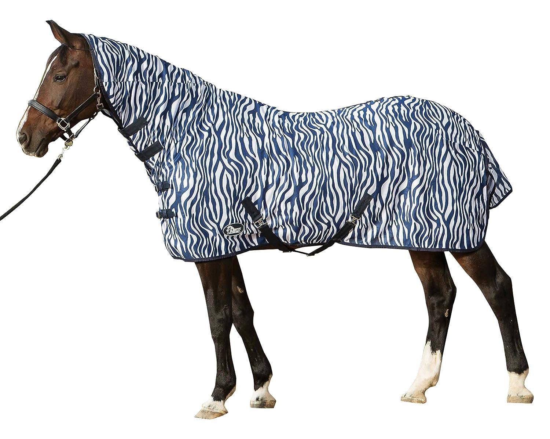 Harry's Horse Fly Manta de Malla mosquitera de Piel de Cebra Cuello Correas de francés de la Cruz - Blue