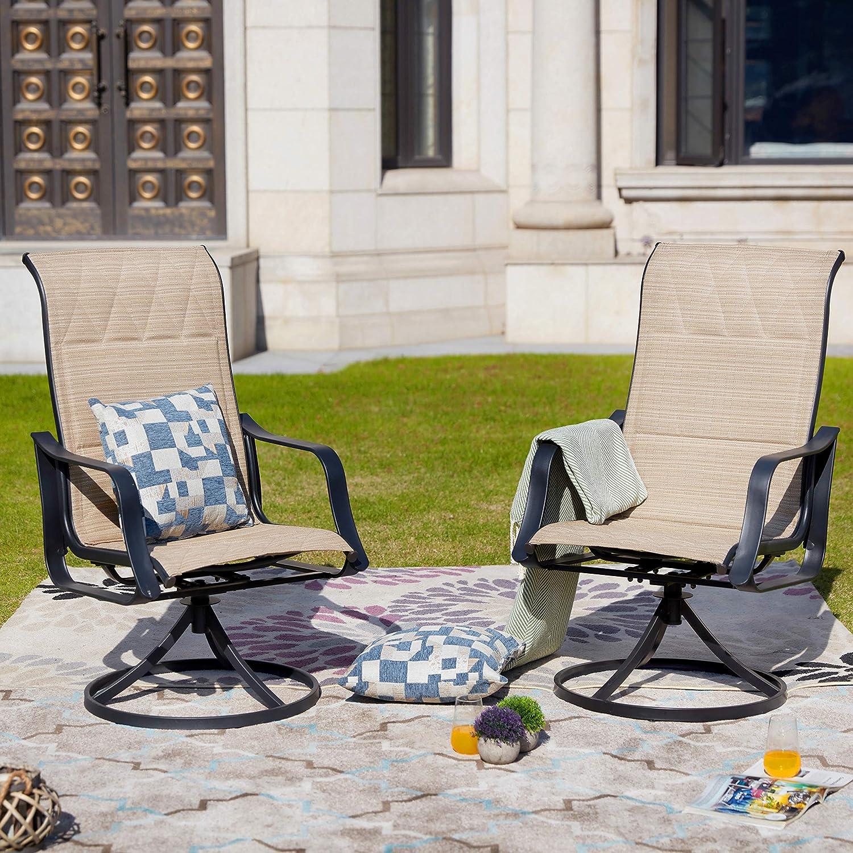 LOKATSE HOME Outdoor Patio Swivel Rocking Chair Set Sling(Set of 2), 2, Beige