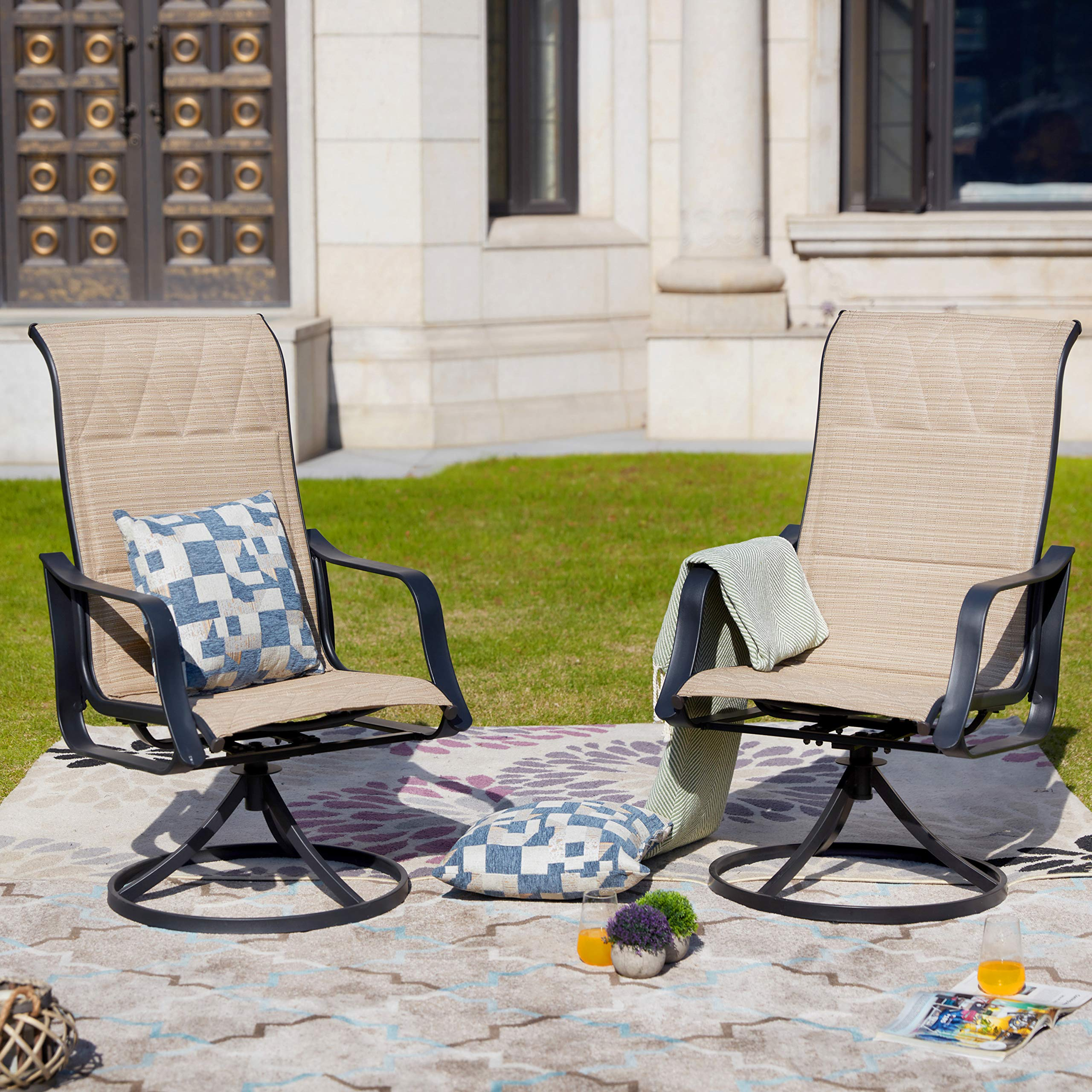 LOKATSE HOME Outdoor Patio Swivel Rocking Chair Set Sling(Set of 2), Beige by LOKATSE HOME