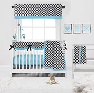 Bacati - Love 10 pc Crib Set 100 Percent Cotton Percale Fabrics, Black/Turq Unisex (10 pc Crib Set with Long Side Crib Rail Guard)