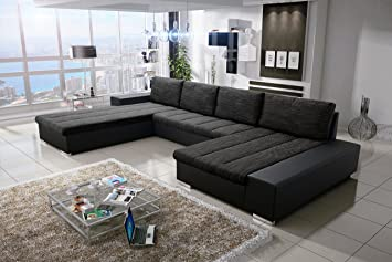 Wohnlandschaft mit bettfunktion  Sofa Couchgarnitur Couch Sofagarnitur VERONA 3 U Polstergarnitur ...
