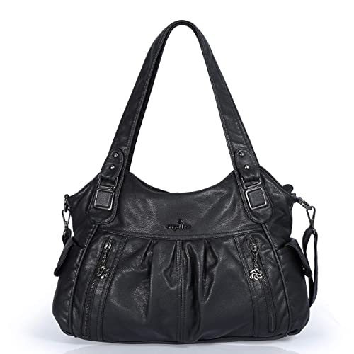 e179fe18cc7e Angelkiss 2 Top Zippers Large Capacity Handbags Washed Leather Purses  Shoulder Bags 0062 (Black)