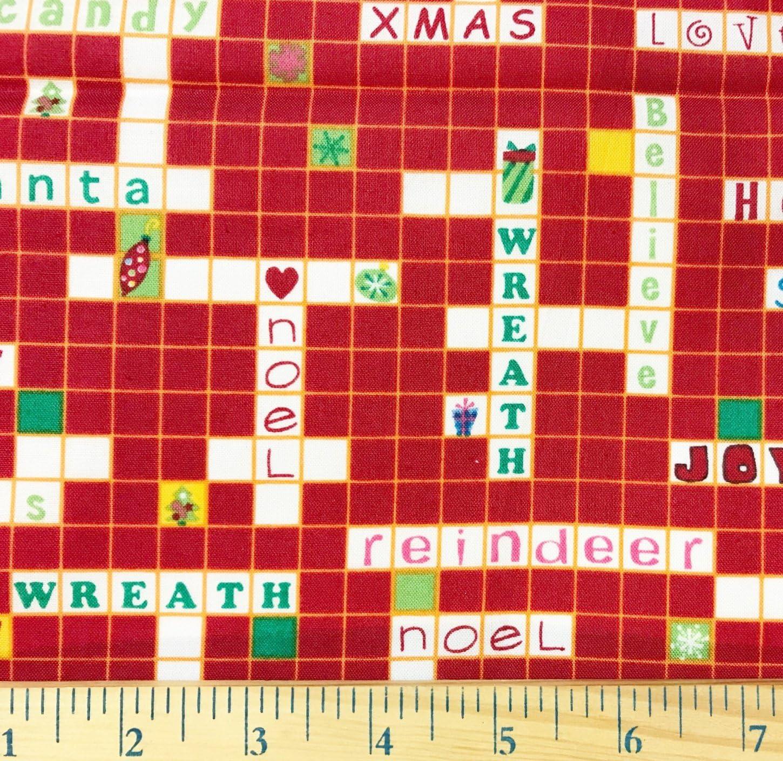 1 Yard – Scrabble de Navidad juego de rojo algodón Tejido (ideal para acolchar, costura, manualidades, manta mantas y más) 1 yarda x 44