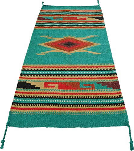 El Paso Designs Hand Woven Southwest Style Accent Rug, 20 X 40 Teal Red Diamond HA-110A