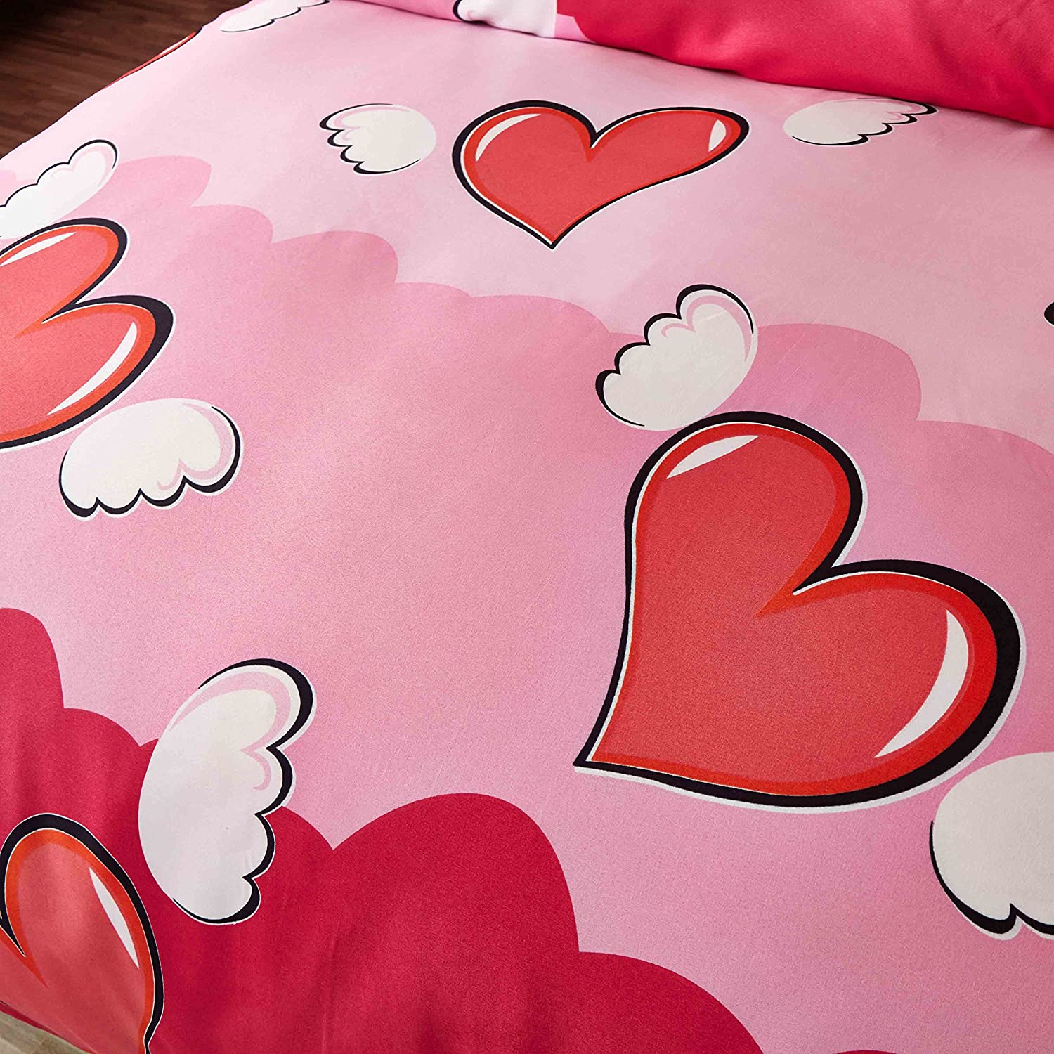 4pcs Bedding Sets Duvet Cover Fitted Bed Linen Pillowcase LZ Twin Full Queen No Comforter Natural Flower Lattice Angle Heart Love Design for Bedding Room (Angle Heart, Red, Full, Single Sheet) Nova