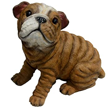 sitting bulldog puppy statue