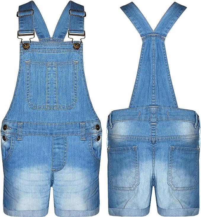 Top Fashions Childrens Unisex Girls Light Wash Denim Short Boys Dungaree Jumpsuit Age 5-13