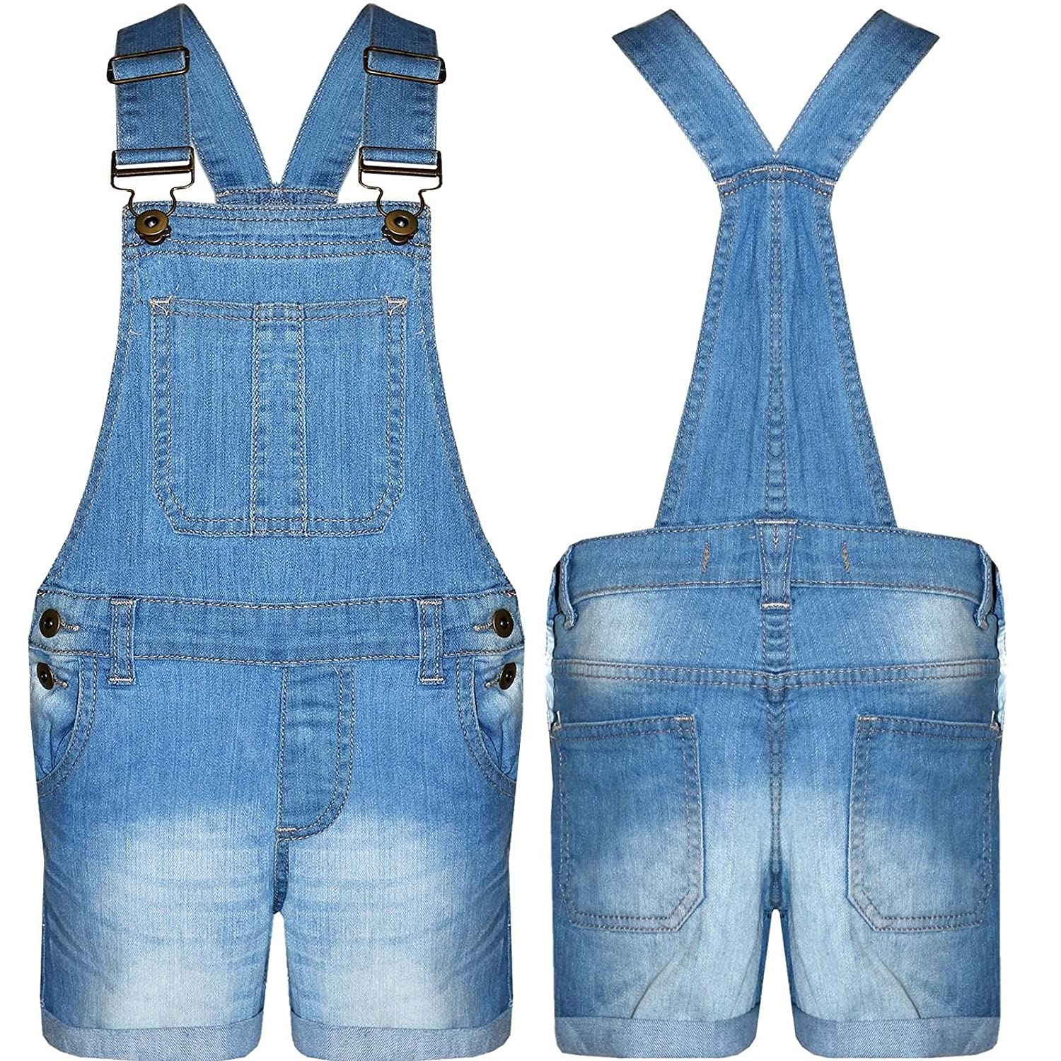 Lyallpur Girls Dungaree 100% Cotton Kids Jeans Denim Shorts Dress Jumpsuits 7-13 Years