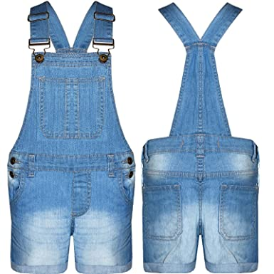 A2Z 4 Kids/® Kids Girls Dungaree Shorts Denim Stretch Jeans Jumpsuit Playsuit All in One New Age 5 6 7 8 9 10 11 12 13 Years