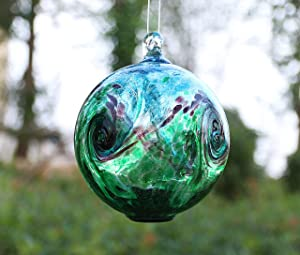 Artisan Crafts and Design 6-Inch Solar Hanging Glass Gazing Ball Outdoor Garden Décor Aqua-Green Swirl