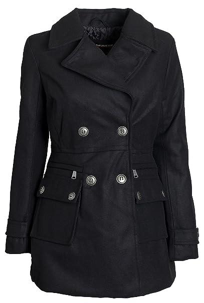 Buy Authentic top design choose clearance Urban Junior Women Classic Wool Look Padded Winter Dress Peacoat Jacket Pea  Coat