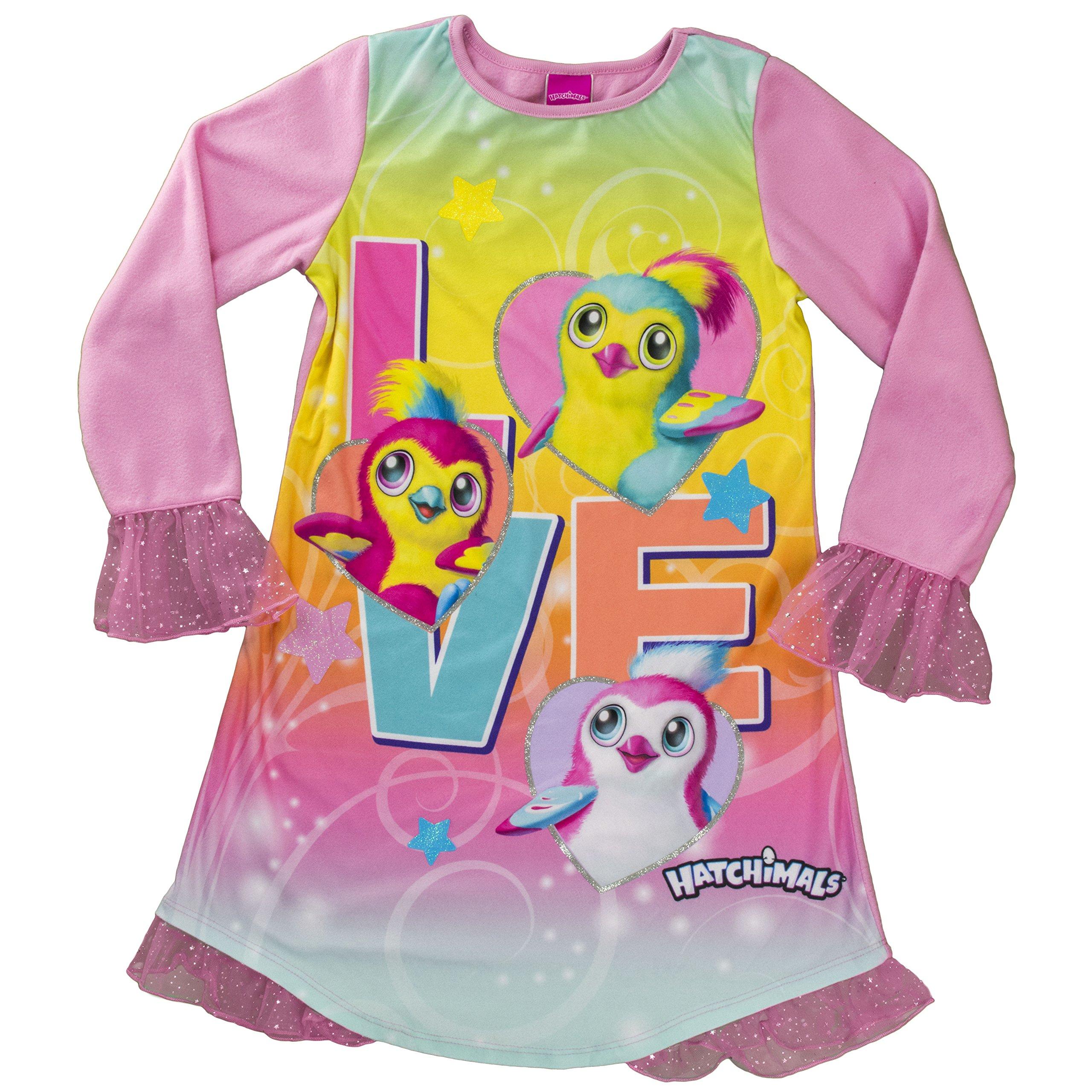 Hatchimals Little Girls' Night Shirt Sleep Dress Pajamas, Turquoise, 6/6X